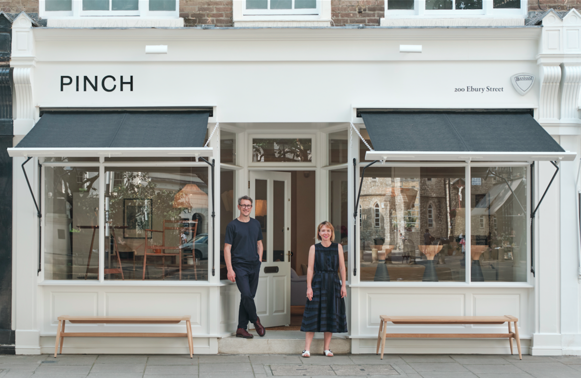 Image credit: Russell Pinch and Oona Bannon outside 200 Ebury Street store, PINCH.
