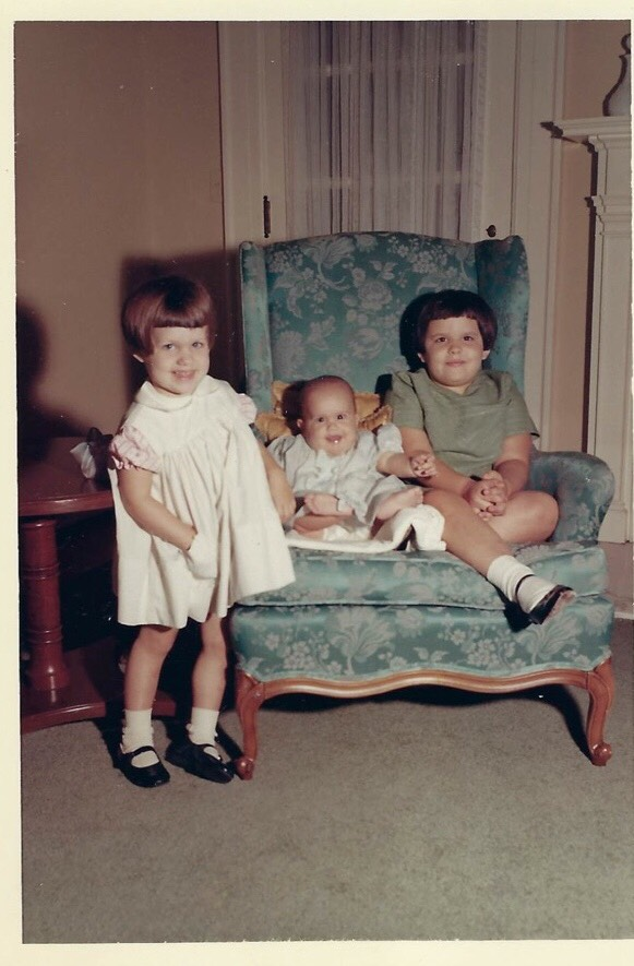 Sister Melanie, age 3, Becky, 8 months, and sister Susan, age 6