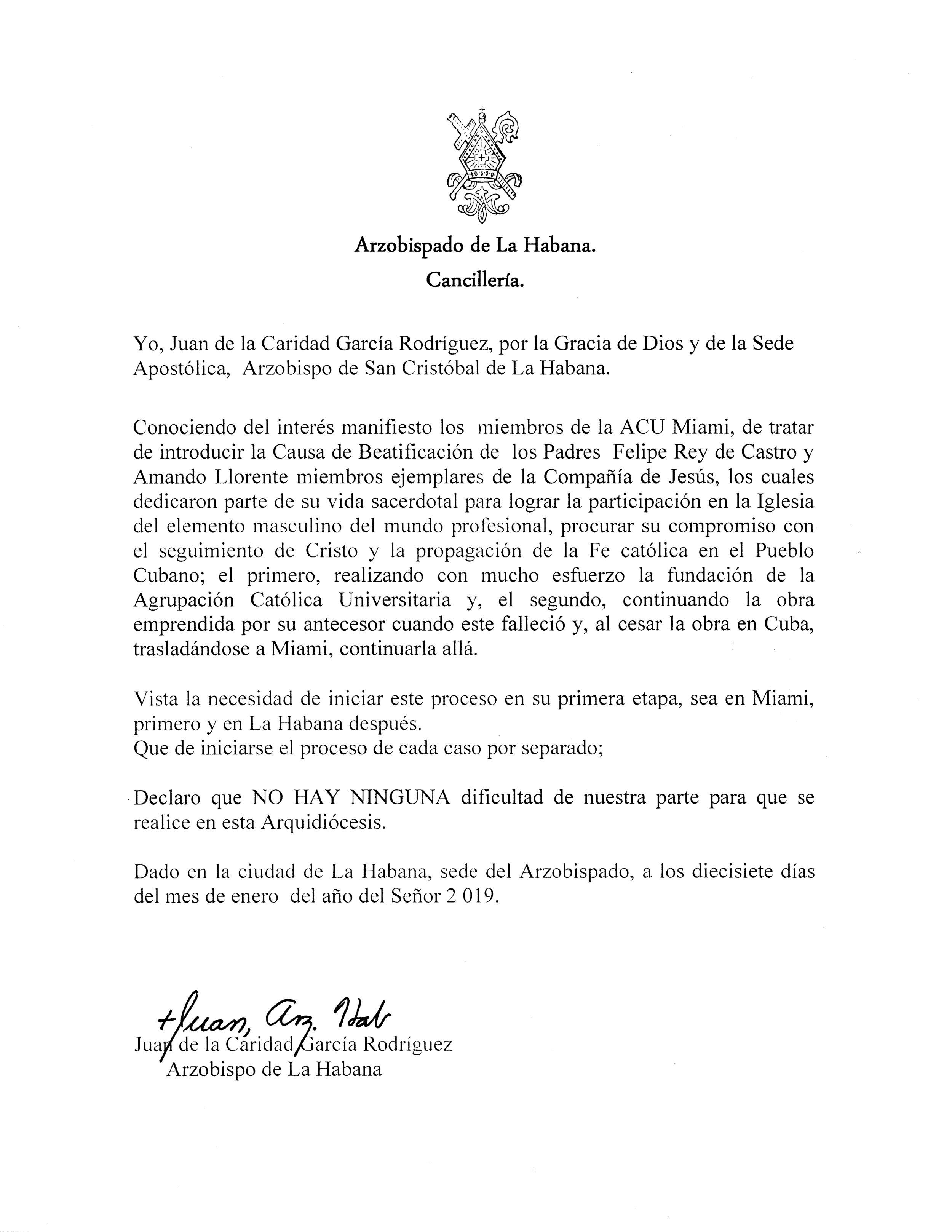 Carta del Arzpbispo de La Habana sobre la iniciativa de la ACU