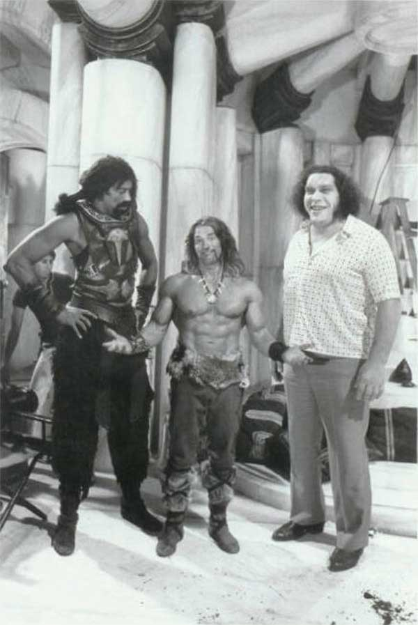 Wilt-Chamberlain-Arnold-Schwarzenegger-and-Andre-the-Giant-on-the-on-the-set-of-Conan-the-Destroyer