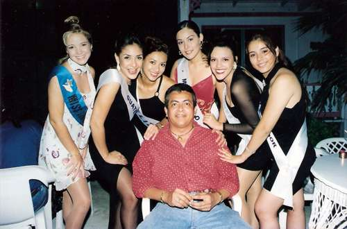 Former Director, Gach Guerrero, with Miss Costa Maya delegates and Miss San Pedro.