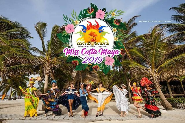 Miss Costa Maya delegates in their traditional costume.