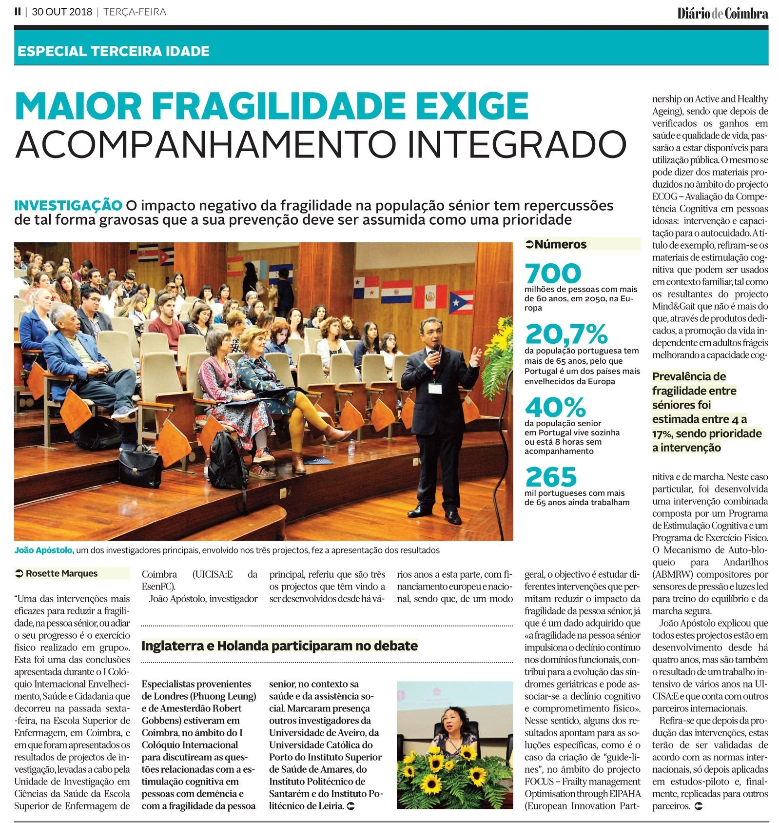 """1st International Colloquium """"Aging, Health and Citizenship"""" conference in Coimbra Portugal was on the Coimbra daily magazine."""