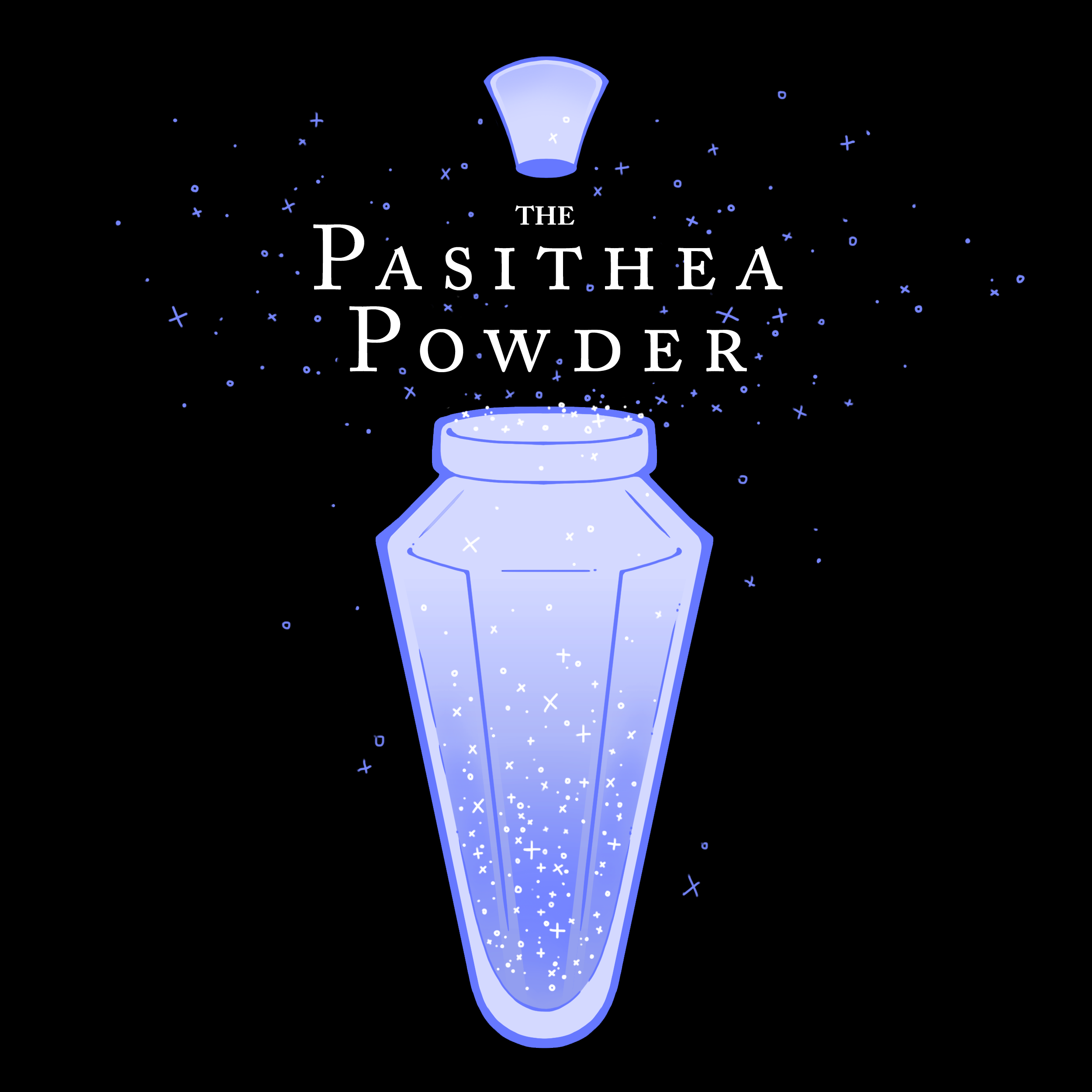 The Pasithea Powder logo. A light-purple vial opens over a black background, releasing both the podcast title in a serif font and a small explosion of dark purple stars.