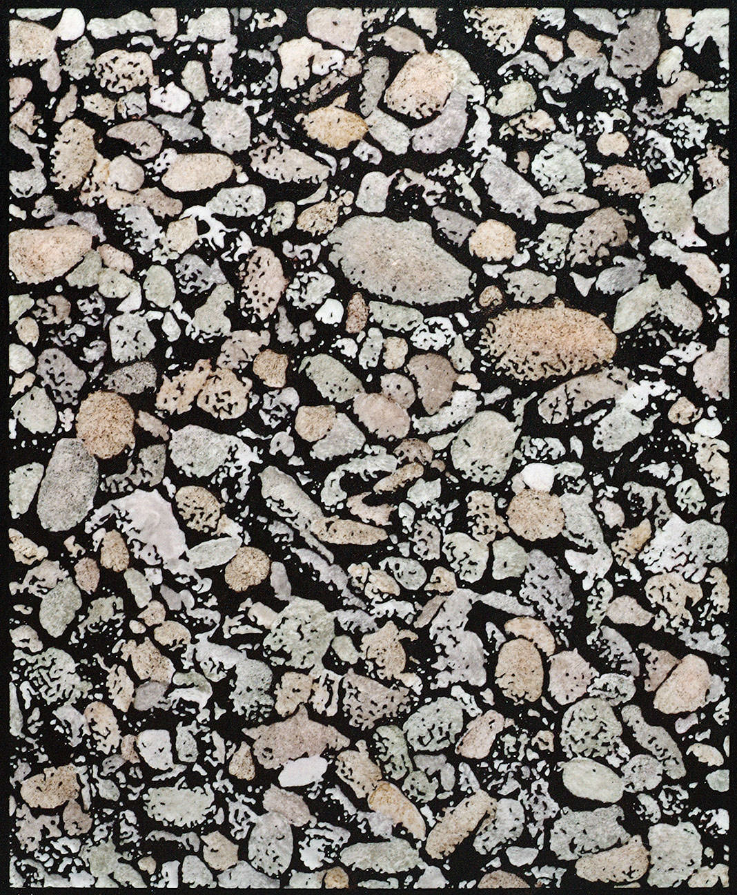 """Pebbles"", champlevé enamel on copper, with glass stain colors, 4"" x 6"""