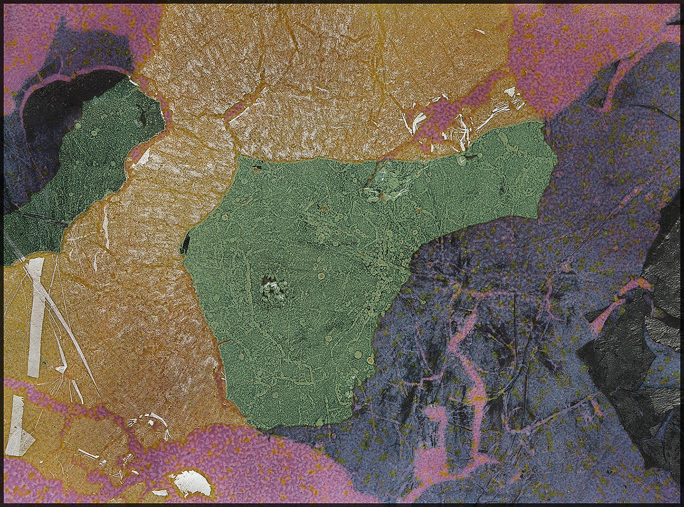 """""""Geoscape"""", with various compositions of metal foils, 8"""" x 5"""""""