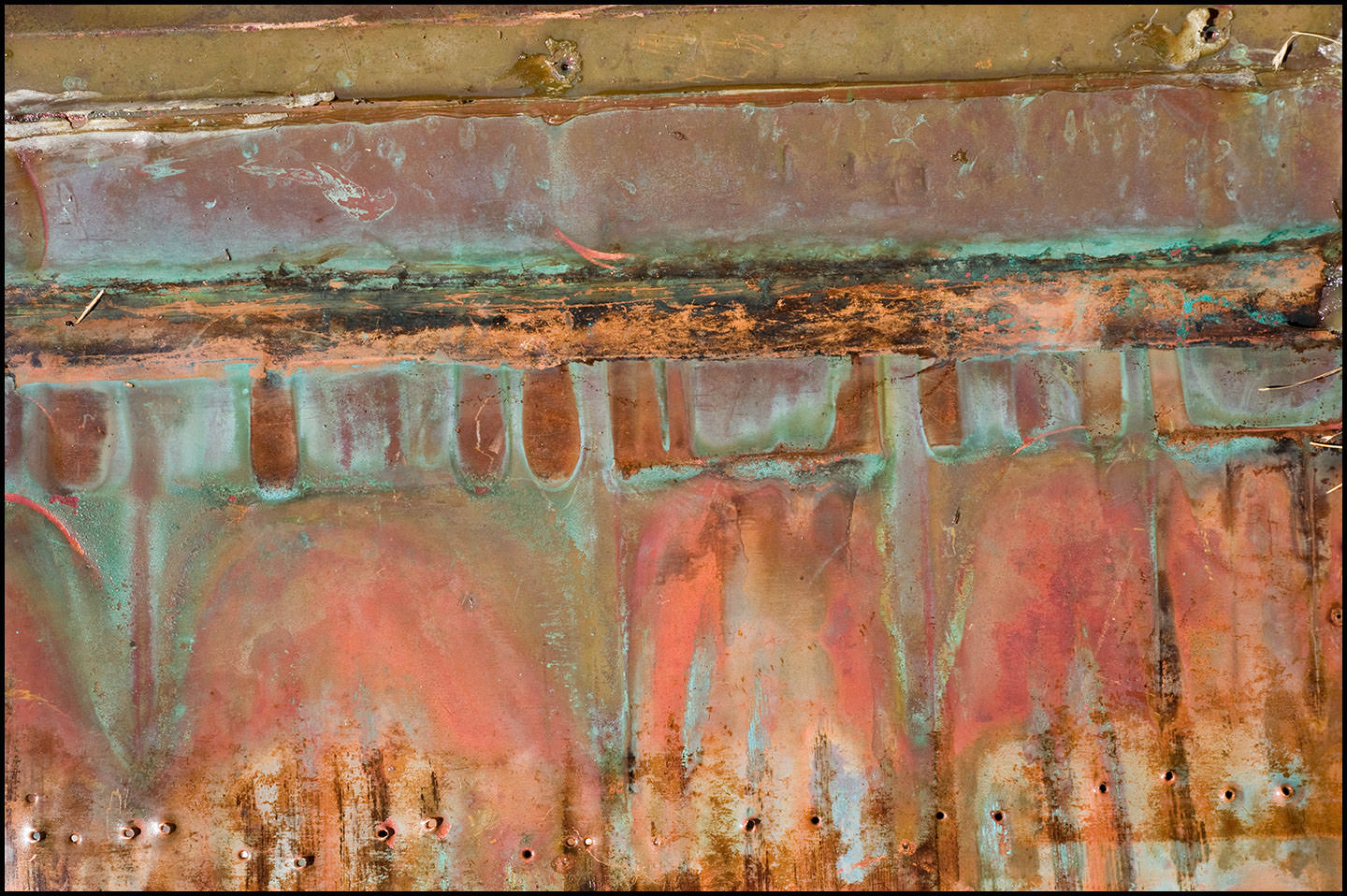 """Roofing copper with patinas. (Colors are  not  digitally enhanced!) This sheet is about 24"""" x 18""""."""