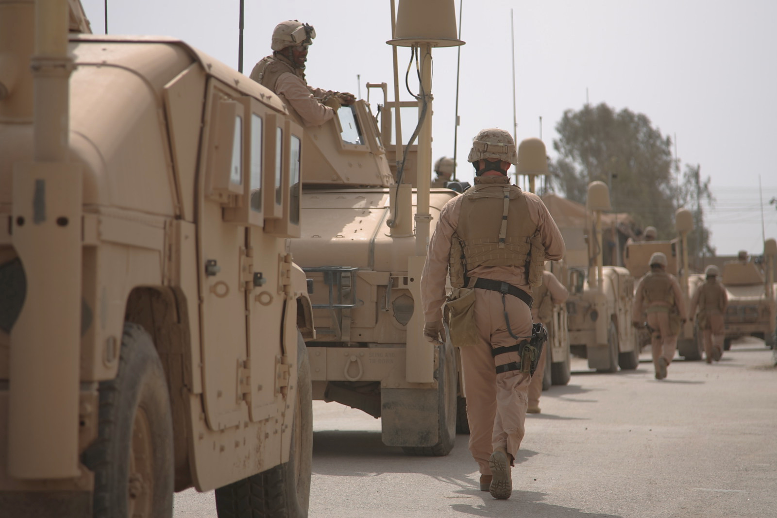 "Marines from 3/7 get ready to ""leave the wire"" and patrol into the heart of Ramadi, Iraq. 2007"