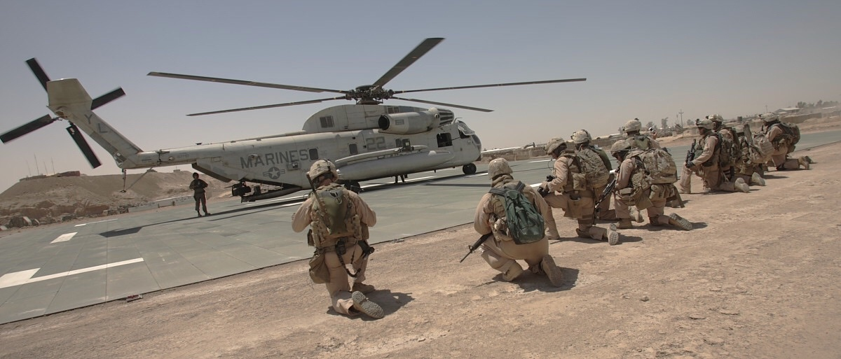 Marine Scout Snipers awaiting the signal before an interdiction mission in Al Anbar, Iraq 2007.