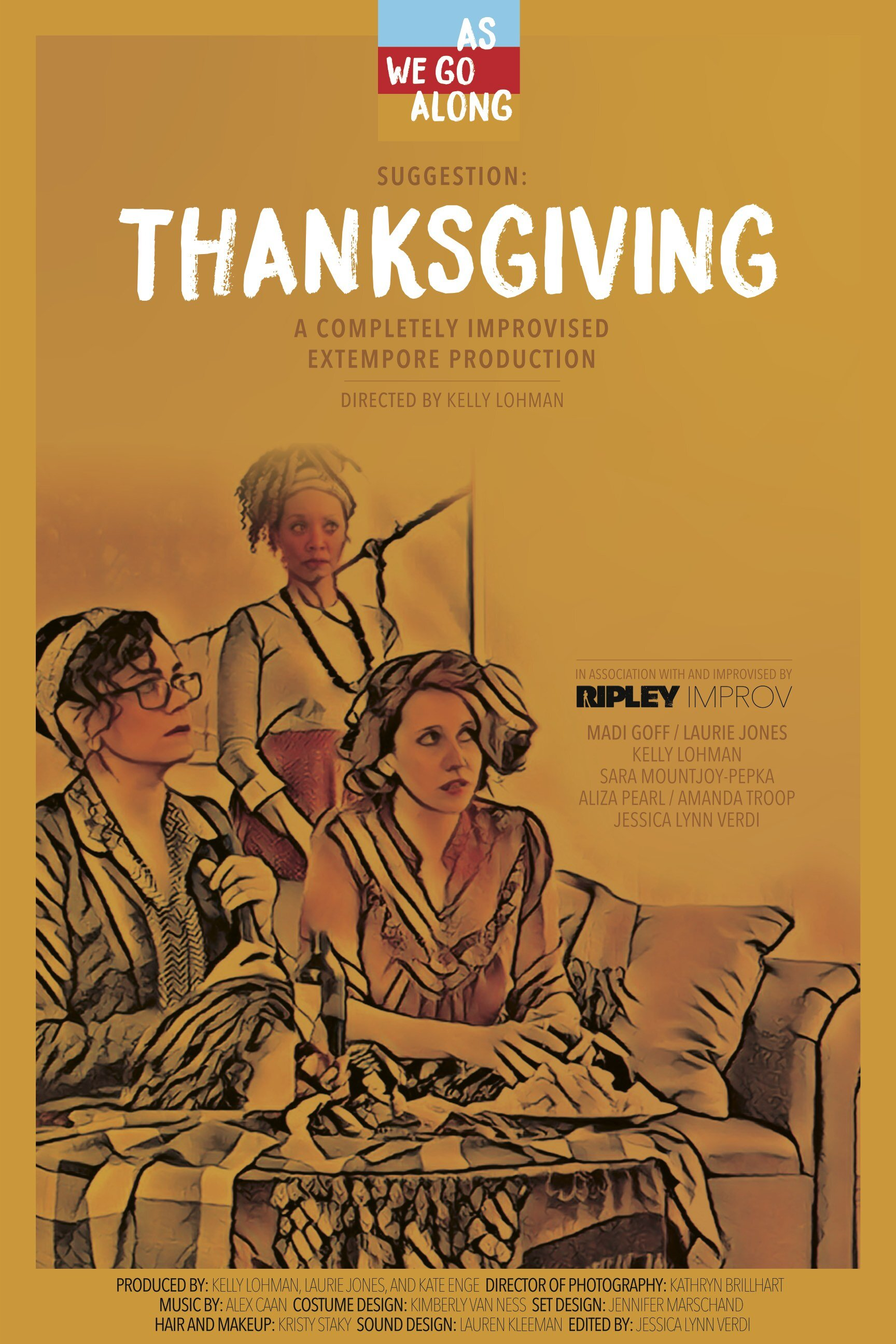 Thanksgiving: Over the course of an orphan's Thanksgiving dinner, a group of small-town California community theater artists play out their inner turmoil over a chicken and lots of wine. As niceties unfurl into savage jabs, fierce competitiveness threatens to ruin this found family's holiday.