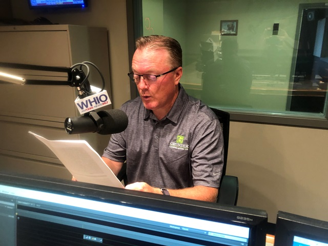 Marty Grunder in the studio at WHIO recording Good News in Dayton.