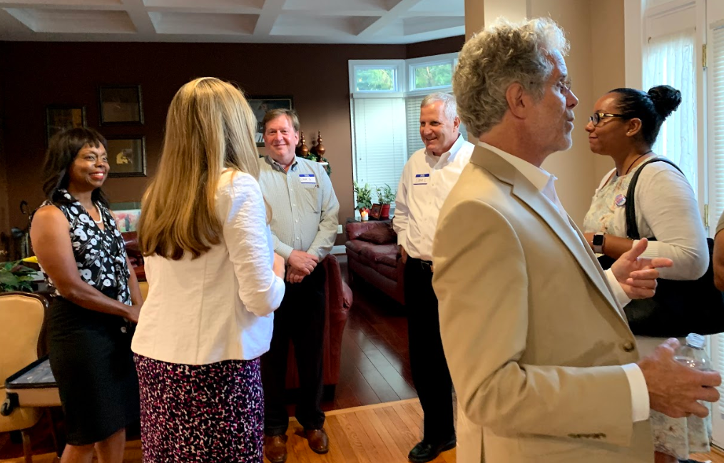 Sylvia mingled with local Democrats