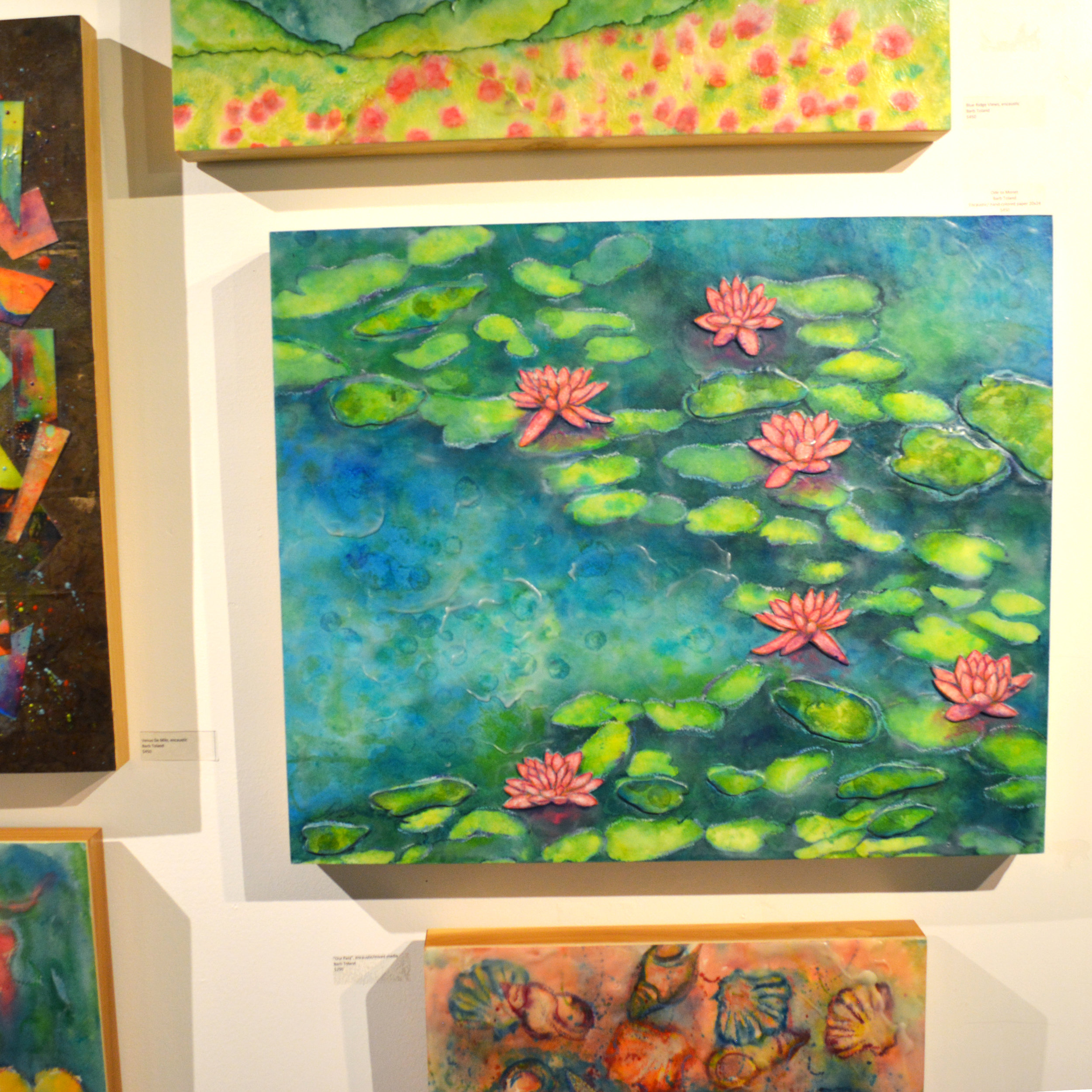 Barb Toland - Encaustic on wood with work featuring calming subjects.