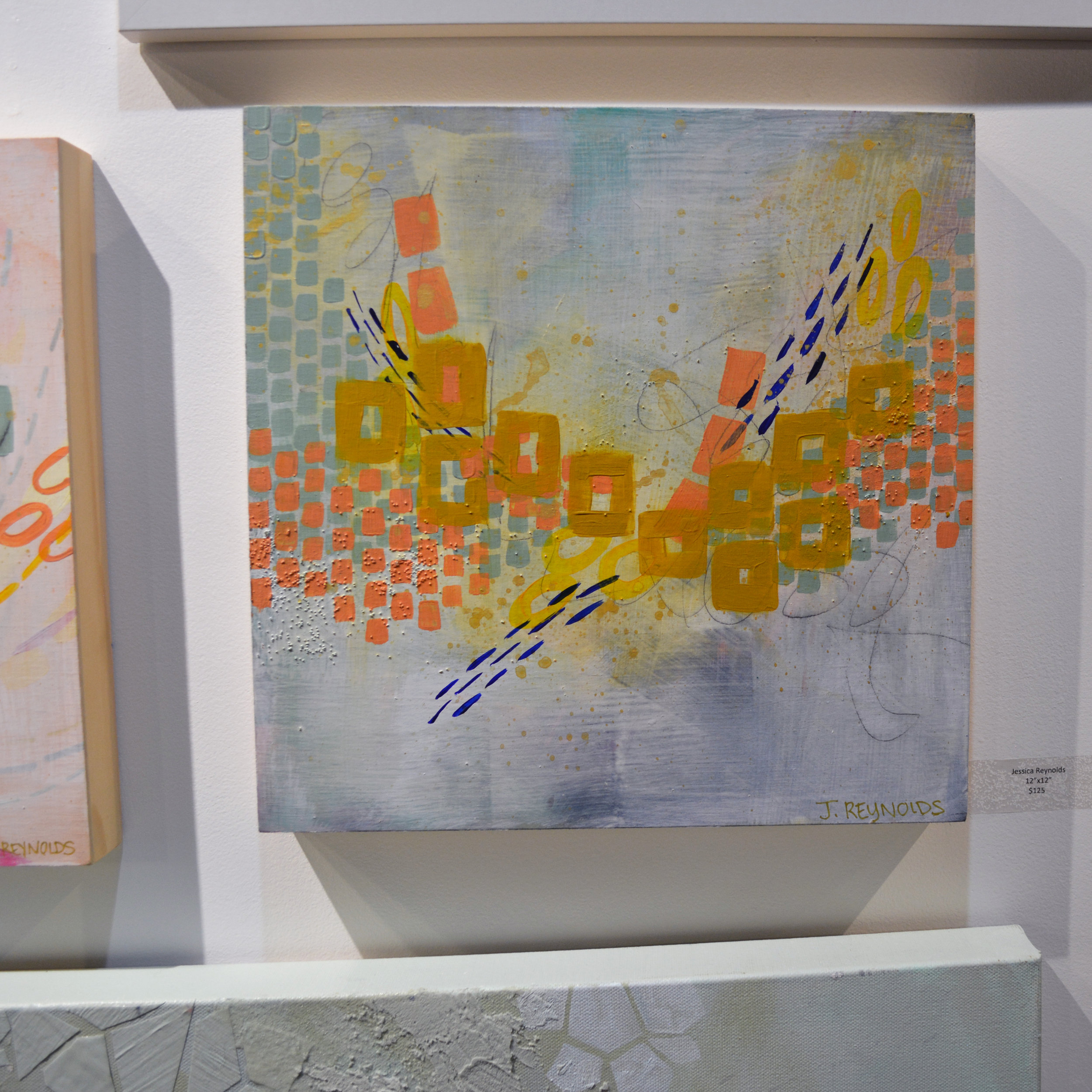 Jessica Reynolds - Light and bright abstract work. Acrylic on wood.