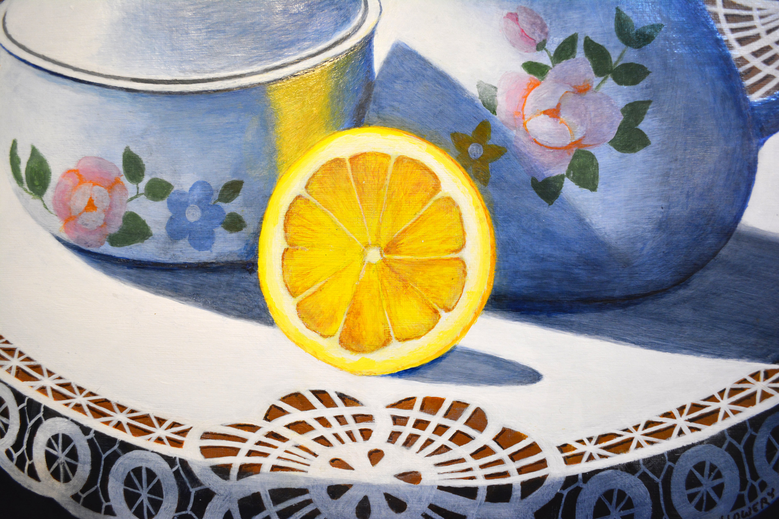 Joe Lowery - Framed realistic work in oil and acrylic on paper and canvas. Most known for captureing the clean details of a still life in the home.