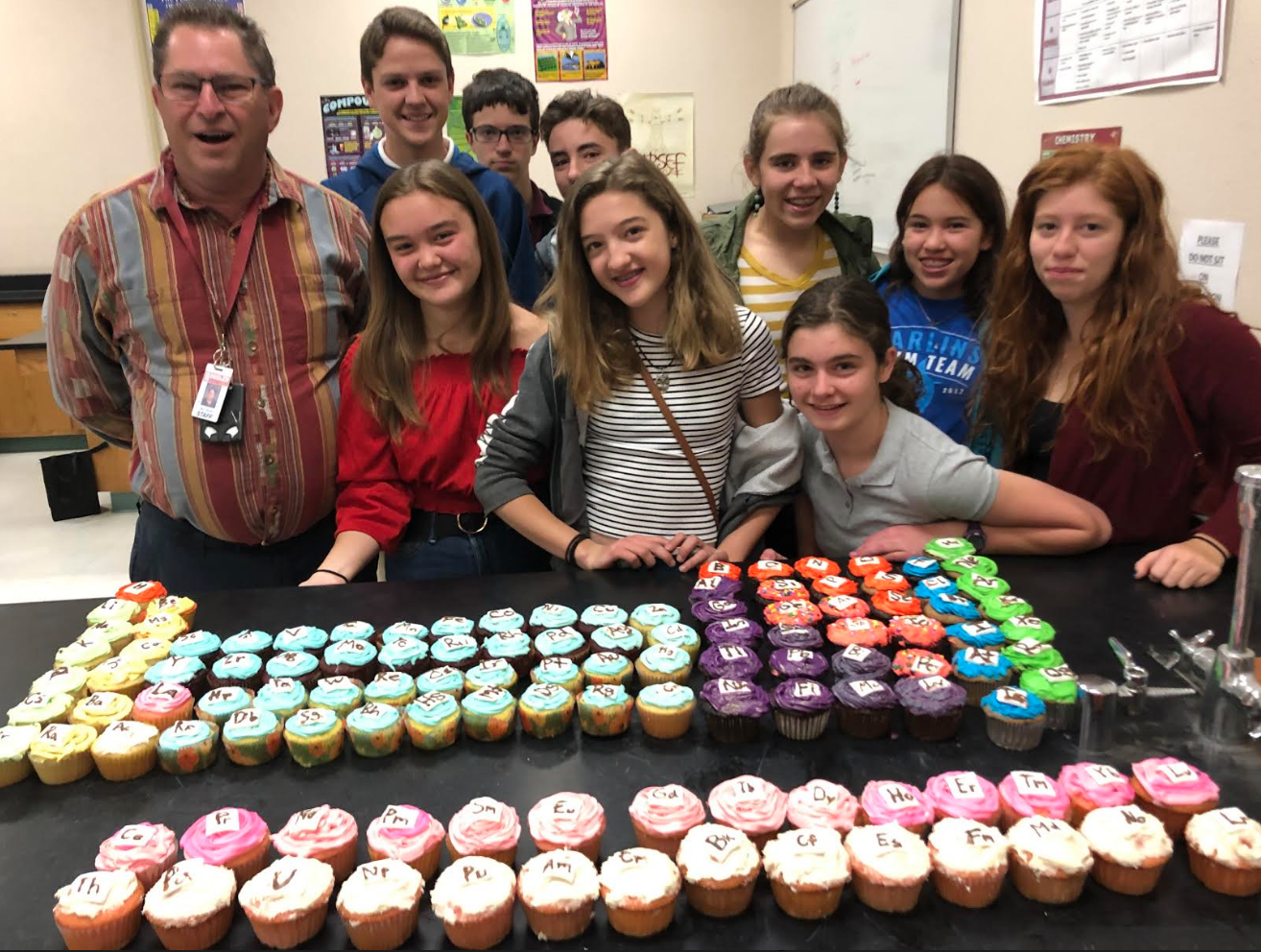Isn't this what it's all about? Inspired by his fantastic teaching, these TUSD Doolen Middle School 8th Graders surprise Science teacher Ivan Yocum with 118 cupcakes arranged and decorated as elements on the Periodic Table. (Why do I know about this? Hint: my kitchen was the location for this culinary science experiment!).