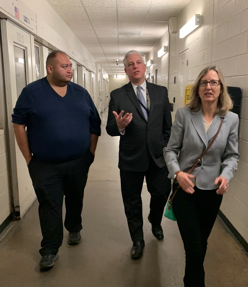 Touring the Maricopa County Jail with colleague Rep. Daniel Hernandez on far right.