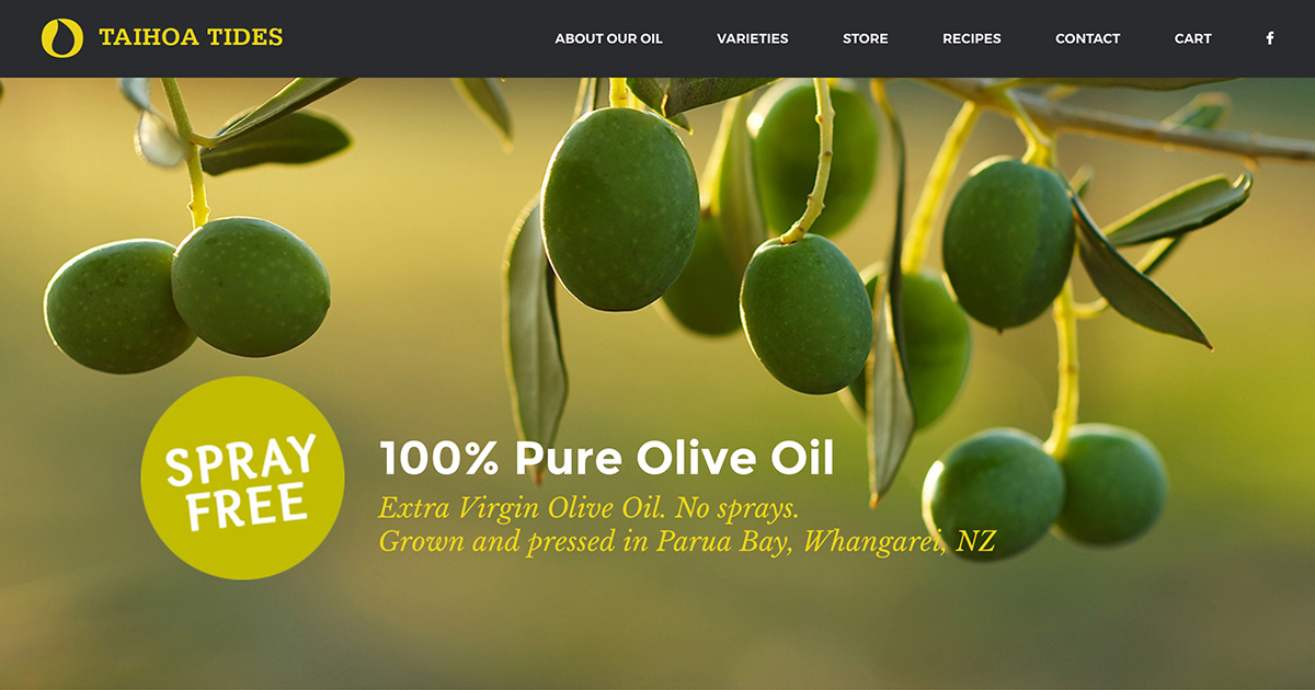 Taihoa Tides Olive Oil: eCommerce (collaboration with Home Studio)