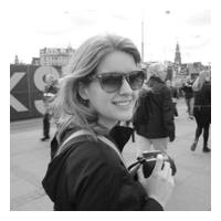 A black and white photo of storyteller Chelsea Temple Jones
