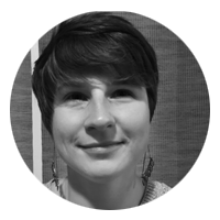 A black and white photo of storyteller Brittany Van Beilen