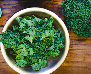 Baby Kale chips - Preheat the oven to 275 degrees F.Remove the ribs from the kale and cut into 1 1/2-inch pieces. Lay on a baking sheet and toss with the olive oil and salt. Bake until crisp, turning the leaves halfway through, about 20 minutes. Serve as finger food.