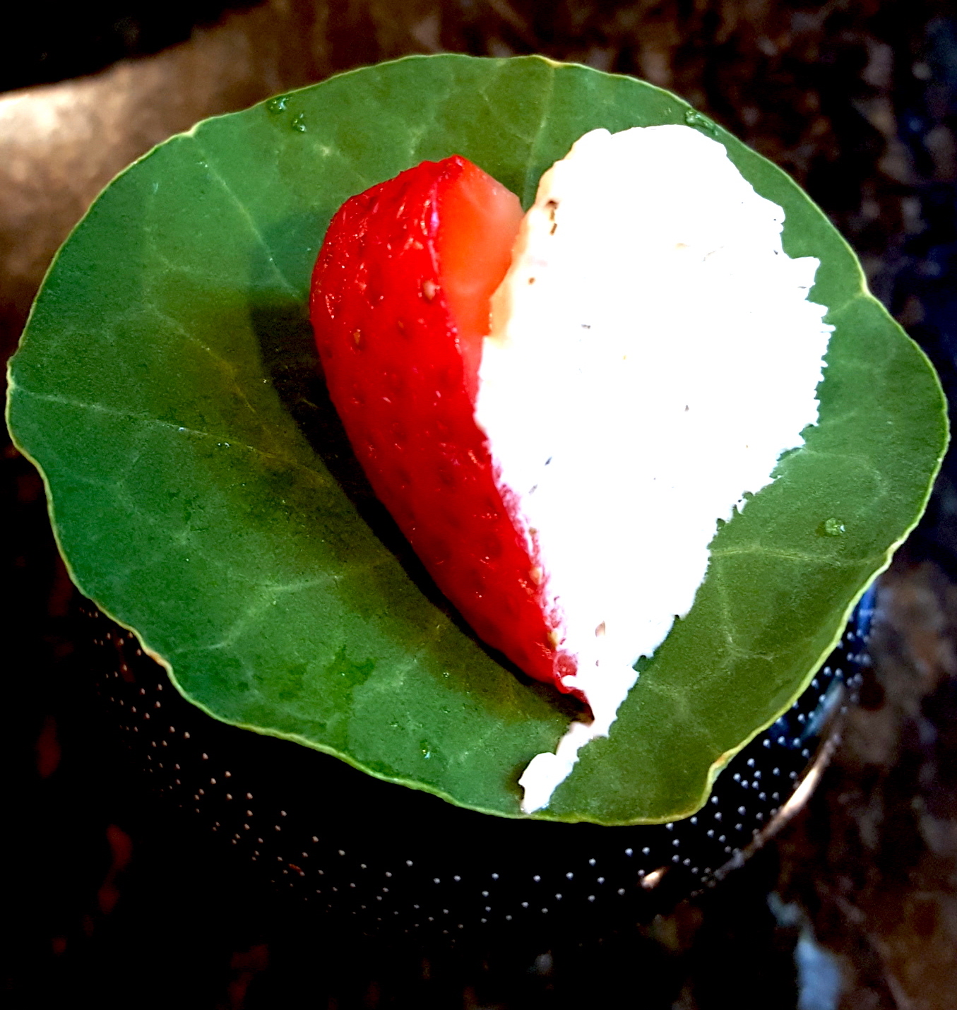 """Nasturtium Wrap - Strawberry hearts with creamy Dill whip(Tip: angle the knife to cut out the strawberry core on top and slice sideway to create little """"hearts"""". )"""