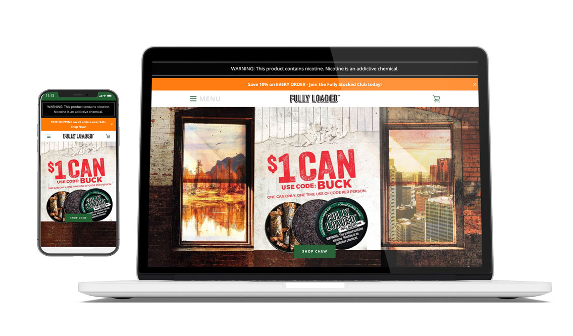 FullyLoadedChew.com  as it looks today: an enterprise-level Shopify eCommerce site integrated with ShipStation.