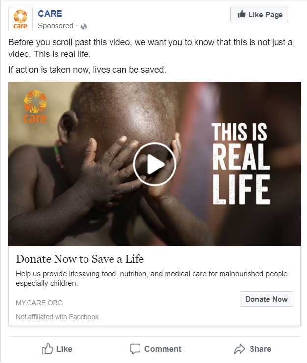 This is an in-context screenshot of how the video appeared in a user's Facebook Feed.
