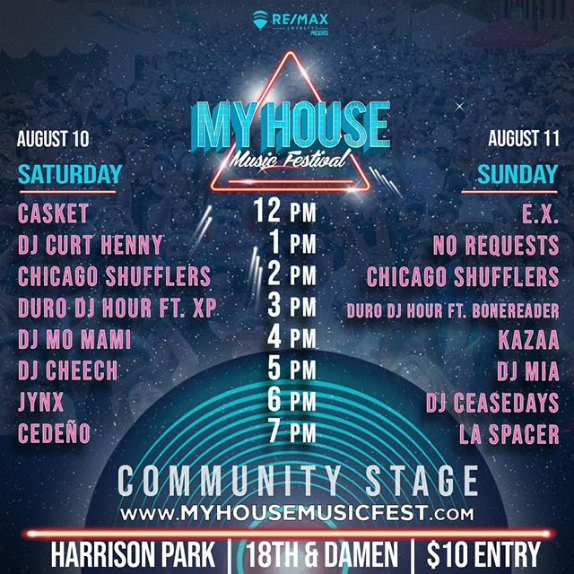 The #MHMF Community Stage schedule is🔥 ⁠ .⁠ Who are you most excited to see? Tag them in the comments below!⁠ #deejay #summertimechi #festival #lineup⁠