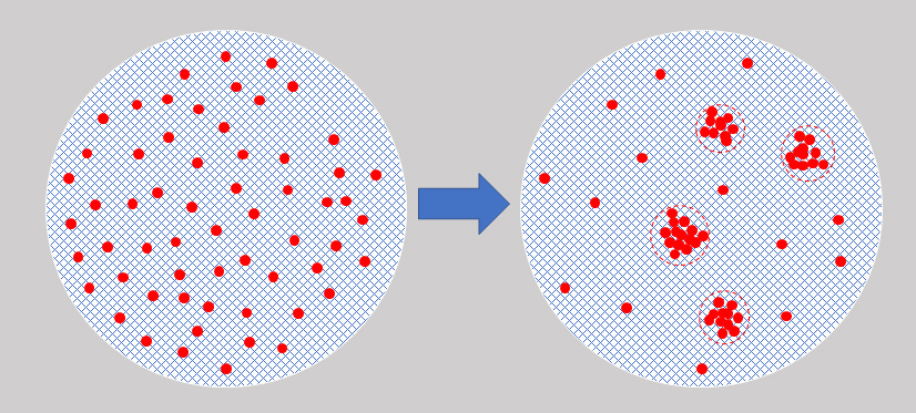 Liquid-liquid phase separation (from left to right): Solutes (red dots) evenly dissolved in a solution (blue mesh) undergoes LLPS to form a denser phase (red circles) that separates from the less dense phase.