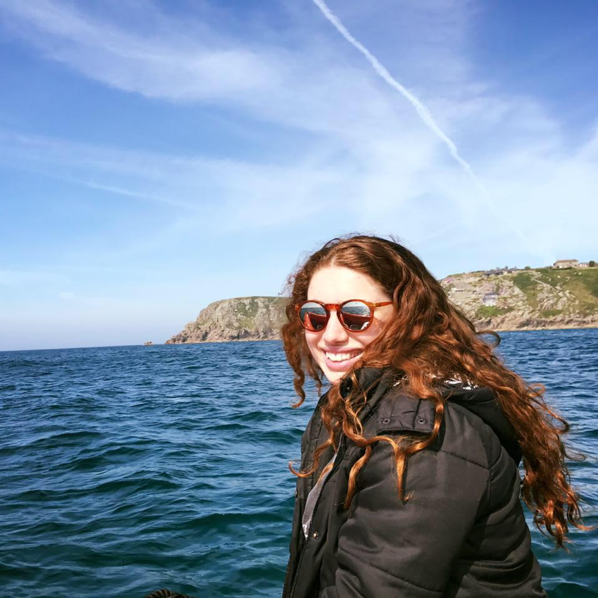 Kristy Hillas searching for basking sharks in Cornwall, England.
