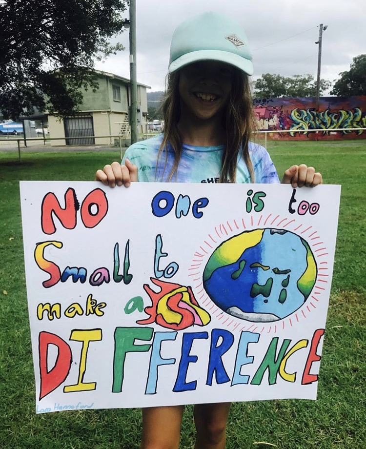 School student at the Climate March 2019, Coffs Harbour, Australia