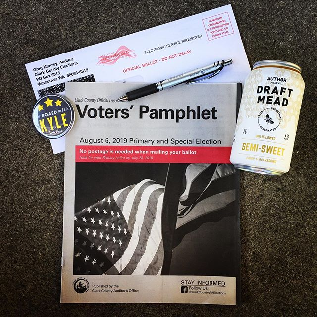 Ballots dropped yesterday, so check your mailbox! We were pleasantly surprised to find some Friday night fun. Do it tonight or do it later, just make sure you do it and mail or drop your ballot by August 6th! Voters' pamphlet? ✔️ Blue or black pen? ✔️ Ballot? ✔️ Locally made refreshment? ✔️ Let's do this!  #onboardwithkyle #votevotevote #vancouver #rockthevote #clarkcounty #primaryelection #makeyourvotecount #schoolboard #absenteeballot #fridaynightfun