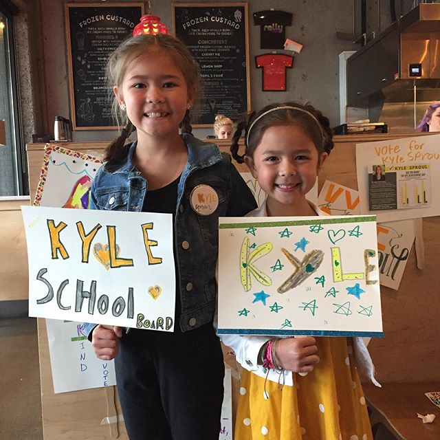 Check out these boss kids! At our Rally for Kyle last night, kids got a chance to be campaign managers. They designed their own campaign signs and buttons for themselves (Pizza President! Ice Cream President!) and/or for Kyle. They were so creative and we loved all the designs. Here are just a few... @rallypizza Thank you so much for hosting a fabulous Rally for Kyle last night! It was perfect!  And thank you to everyone who came out to meet and support Kyle, and to support and eat a delicious dinner at Rally Pizza. What a fun night. Thanks for Rallying!! #onboardwithkyle #rallypizza #bosskids #vancouverusa