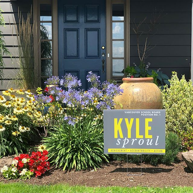 Check out that major curb appeal!! Need to add some tasteful art to your front yard? Grab a yard sign at Rally Pizza tomorrow night from 5-9p!  #onboardwithkyle #curbappeal #vancouverusa #yardart #vote #supportlocalcandidates