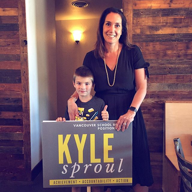 Wanna know how to get your photo taken with Kyle AND snag a snazzy yard sign like our friend Jack?  Come for nibbles and drinks tomorrow night from 5-7p in downtown Vancouver (2212 C Street)! Drop in to meet Kyle and learn more about what she stands for and why she'd make an excellent school board director. This casual meet 'n' greet is graciously hosted by a power team of six of Vancouver's female movers & shakers and education advocates.  We look forward to seeing you tomorrow night!  #onboardwithkyle #vancouverusa #meetandgreet #schoolboard #clarkcounty