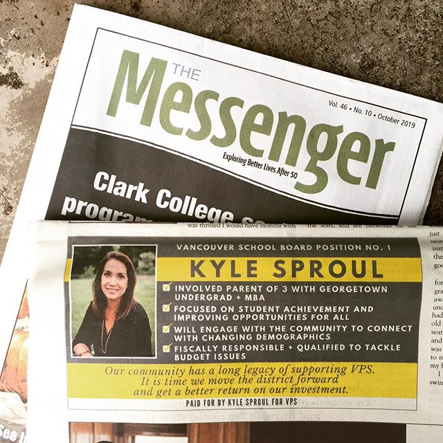 She is smart. She is involved. She is competent. She is qualified. She is determined to make VPS better. She is Kyle Sproul, VSD School Board candidate, Po. 1. Are you #onboardwithkyle? We most definitely are!  #schoolboard #clarkcounty #seniormessenger #vancouverusa
