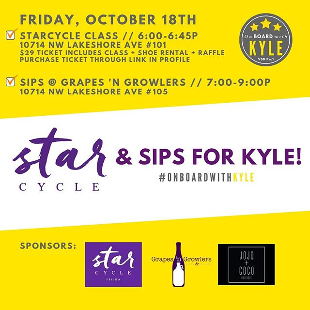 Join us next Friday at 6p for StarCycle & Sips for Kyle! Purchase your $29 ticket (link in profile) for a 45-minute sweat-fest with bumpin' jams, shoe rental, and the chance to win sweet prizes from our amazing sponsors. If you can't make it to cycle with us, join us for nibbles and drinks at Grapes 'n Growlers at 7p. See you next Friday! Bikes are limited, so purchase your ticket before this class fills up!! #onboardwithkyle #starcycleandsips #fridaynightfun #sweatsesh #fridaynight #starcycleride