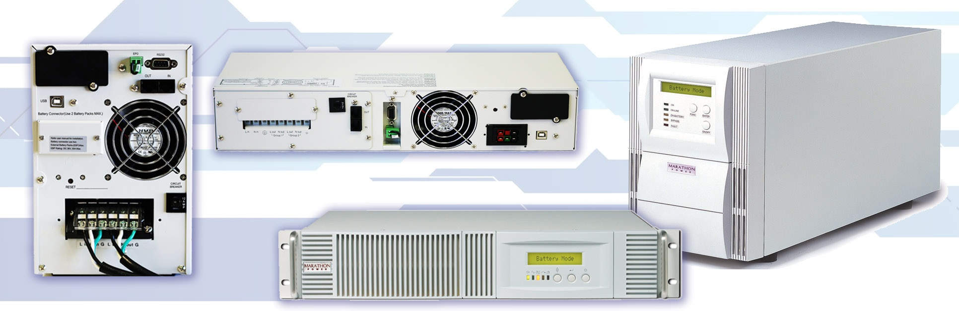 700VA - 12kVA TRUE ON-LINE UPS - True on-line double conversion topologyTrue sine-wave output with less than 3% THDOutput voltage regulation to within +/- 2%High Efficiency (HE) & Free-run modeEPO (Emergency Power Off) port