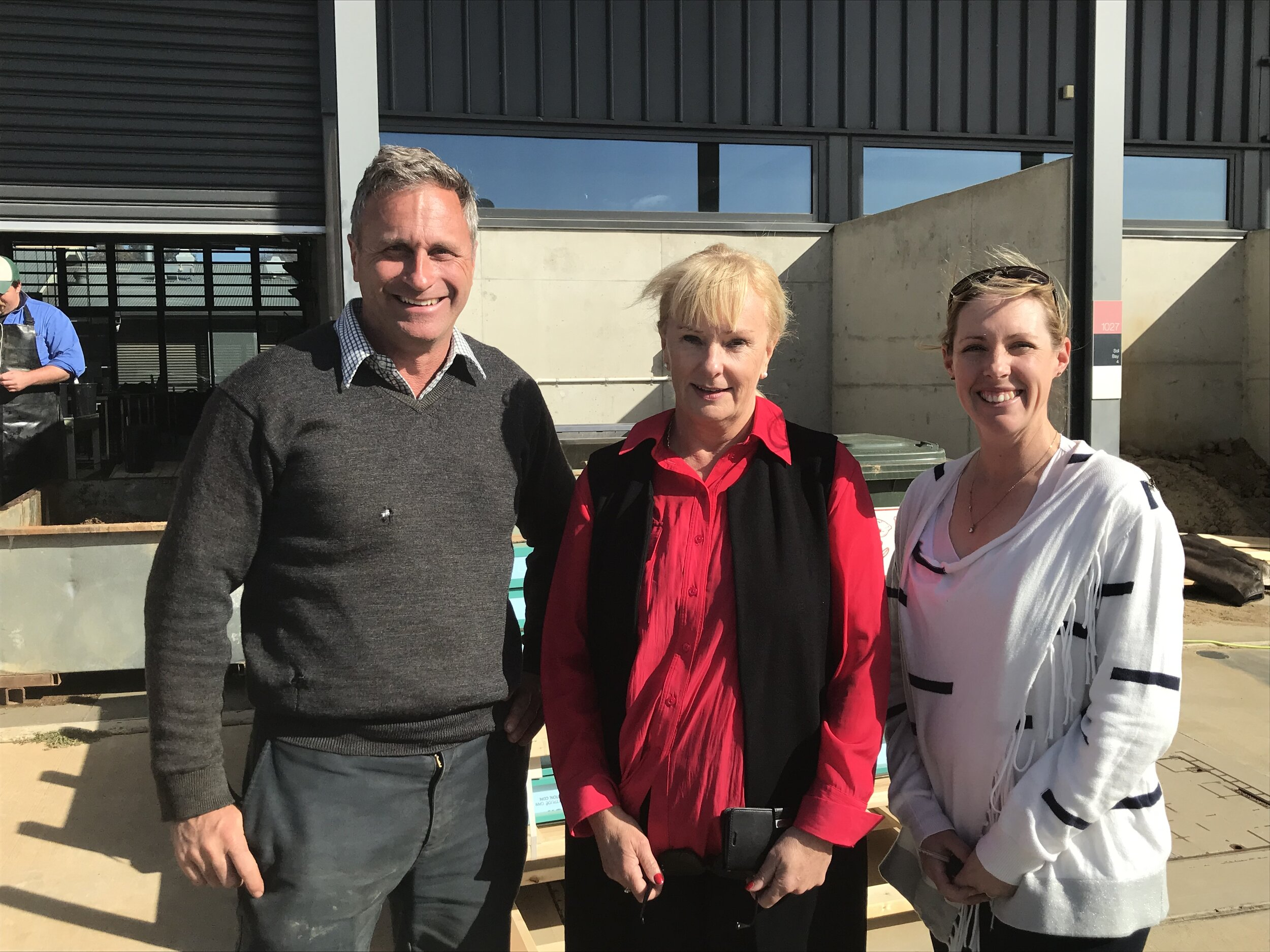 Charles Sturt University's Chancellor, Dr Michele Allan (centre), met with some of the DBEE staff and visited the climate-controlled mass rearing facility on the 22 August 2019. Also pictured are James Stephens and Dr Alison Southwell.
