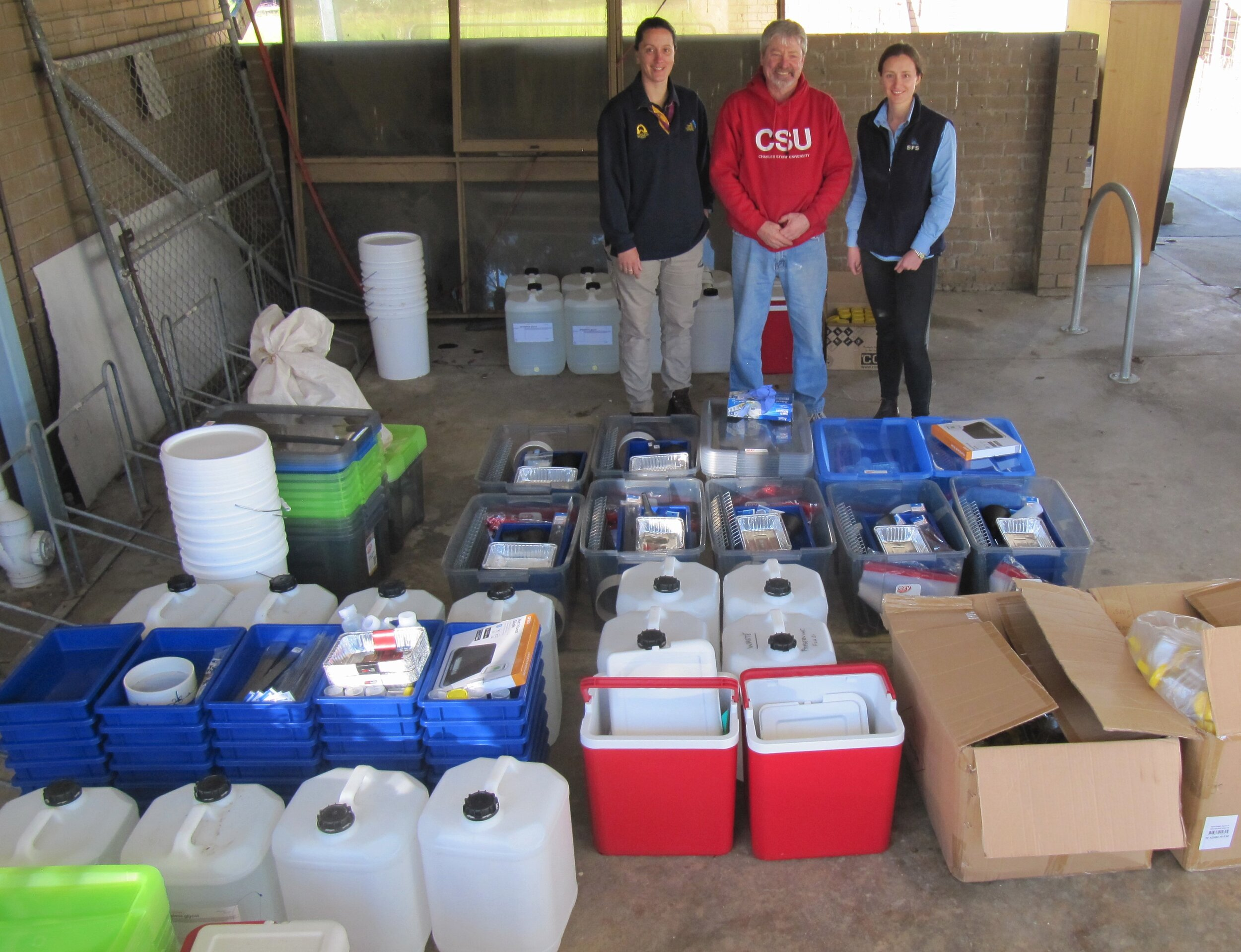 Natalie Jenkins, Graeme Heath and Ashley Amourgis and components of the field monitoring kits