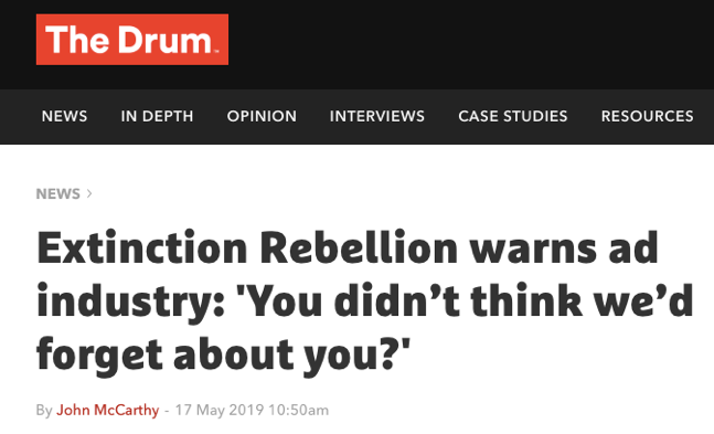 Extinction Rebellion letter to the industry, May 17th 2019