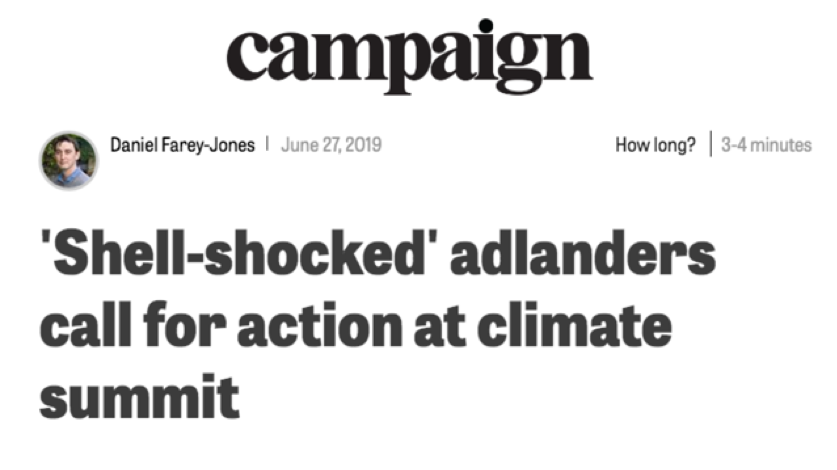 Headline for article on the Climate Crisis Summit in Campaign, June 27th 2019