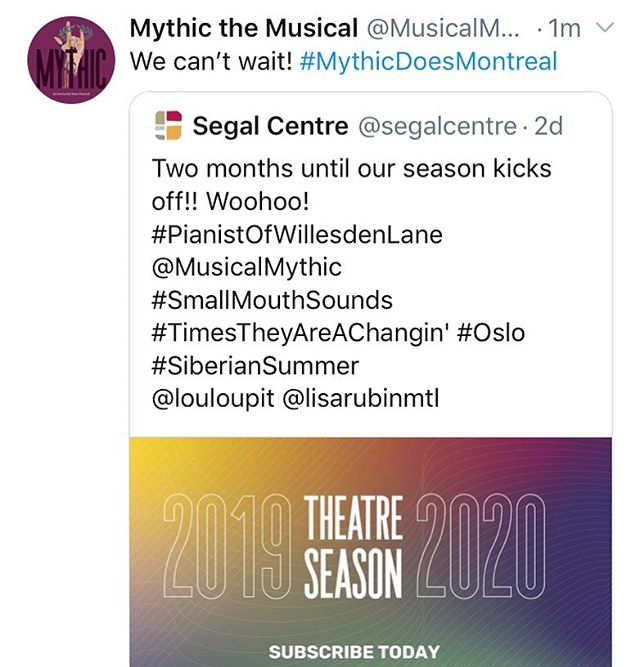 #MythicDoesMontreal feels like the appropriate hashtag. Can't wait to bring the Underworld to Canada soon! #Mythic #NewMusical #NorthAmericanPremiere #segalcenter