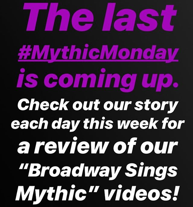 It's been an awesome ride! With our last #MythicMonday of the summer coming up, we're posting links to all of our Broadway Sings MYTHIC videos in our story - a new one each day this week. Be sure to tune in and catch the ones you've missed!