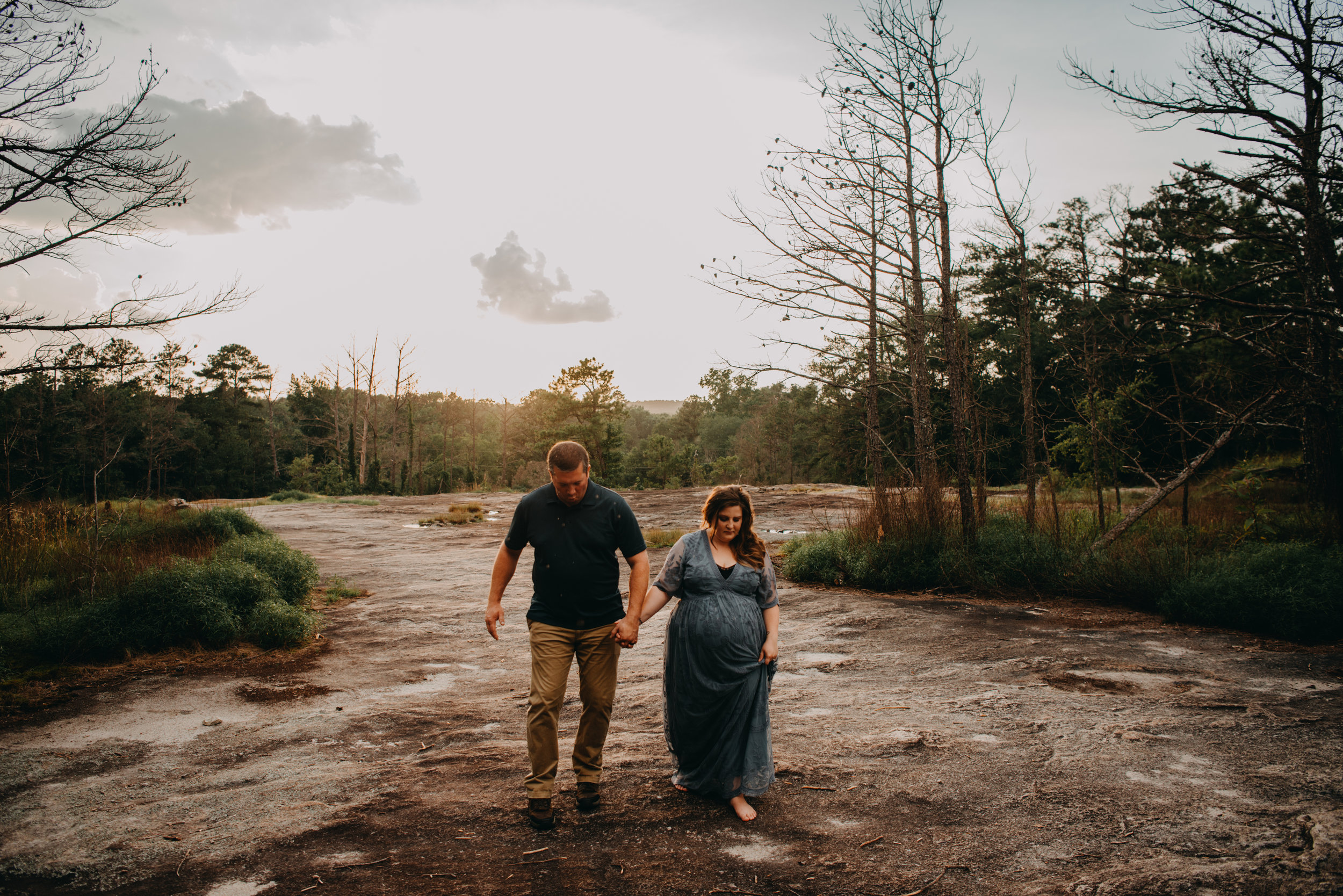 Best Atlanta Maternity Photographer, Maternity Photography, Sunset at Arabia Mountain, Arabia Mountain, golden hour maternity photos, maternity shoot ideas