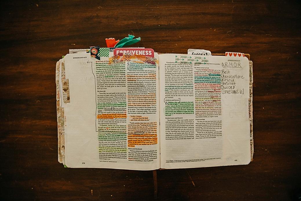 bible, bible journal, Ephesians, armor of God, photography business