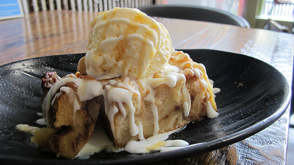 Pineapple Bread Pudding with Cream Sauce
