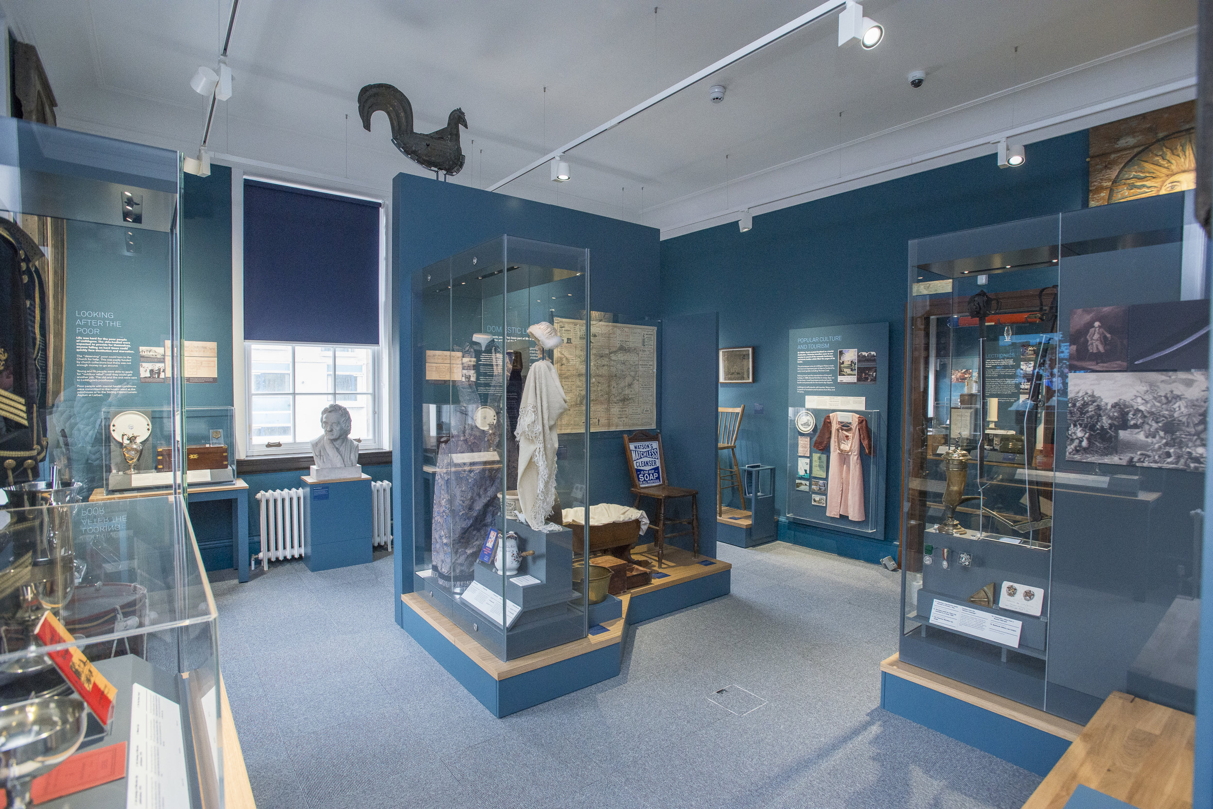 GALLERY 3 - LINLITHGOW LIFE - In this gallery visitors can learn about the Linlithgow Marches, sports and leisure, politics, education and so much more. Key objects include Tam Dalyell's typewriter, our Waldie digital interactive and the hugely impressive Scotch Brigade banners.