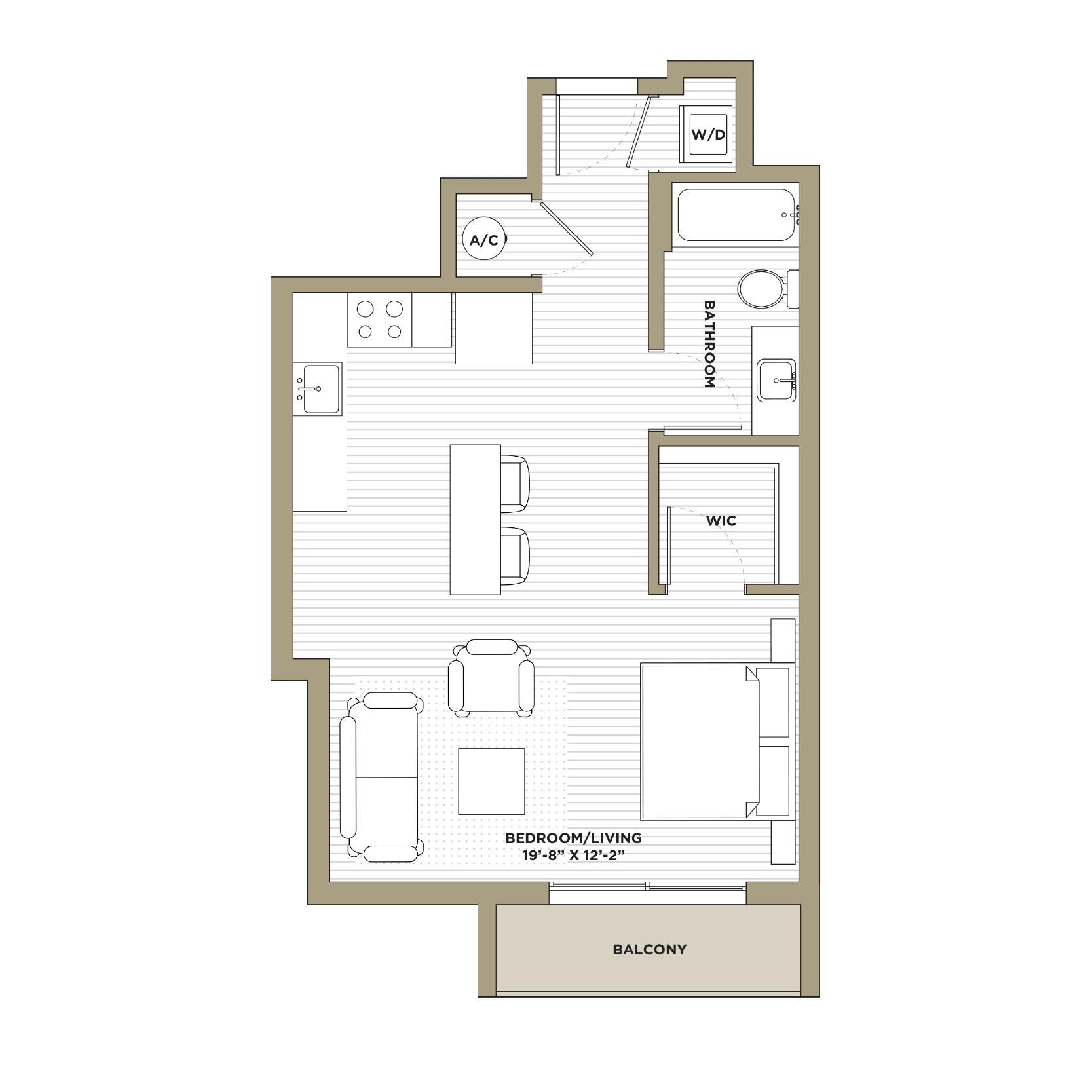 S1 - Studio / 1 Bathroom585 sq. ft.